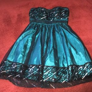 Strapless Teal Formal Dress w/ Sequin Accents